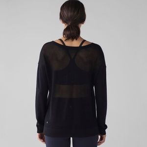 Lululemon 8 Well Being Sweater Black Woven Back